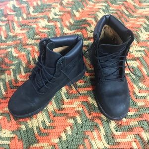 Women's Black Leather Timberland Laceup Boots 8